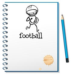 A notebook with a sketch of a football athlete vector