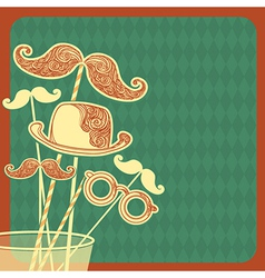 Moustache party background vector