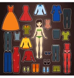 Cute dress up paper doll body template vector