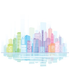 Colorful panorama of city vector