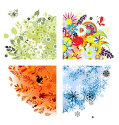 Four seasons - spring summer autumn winter vector