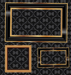 Empty gold and black frames on the wall vector