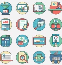 Outline set business icons vector