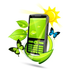 Green eco mobile phone vector