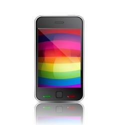 Smart phone with rainbow background vector