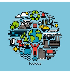 Green ecology and environment flat line icons set vector