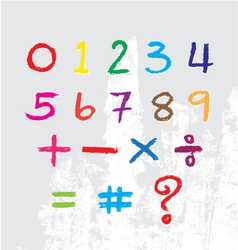Kids number drawn by a crayon vector