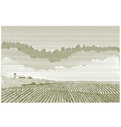 Farm field drawing vector