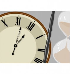 Clock and hourglass vector