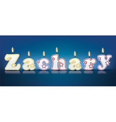 Zachary written with burning candles vector