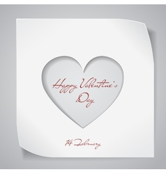 Valentines day background with cutting heart vector