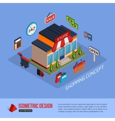 Isometric shopping concept background with place vector