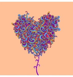 Background with abstract heart curls vector