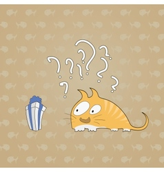 Surprised cat with gift background of fish vector
