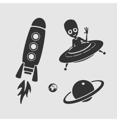 Character set space ufo vector