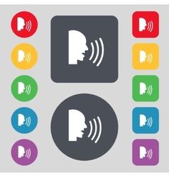 Talking flat modern web icon set colour button vector