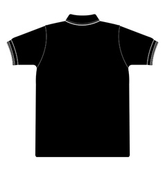 Back side of polo shirt silhouetted vector