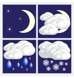 Abstract night weather image set vector