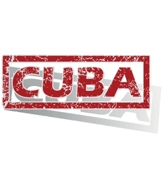 Cuba outlined stamp vector