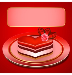 Background with a cake in the shape of heart vector