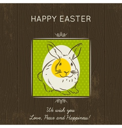Easter card with eggs and rabbit vector