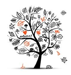 Autumn tree sketch vector