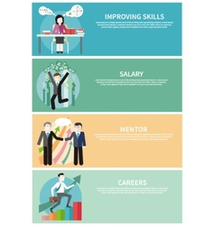 Improving skills careers mentor salary concept vector