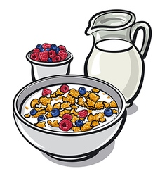 Cereals and milk vector