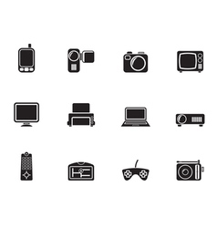 Silhouette hi-tech technical equipment icons vector