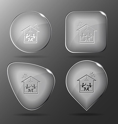 Home celebration glass buttons vector