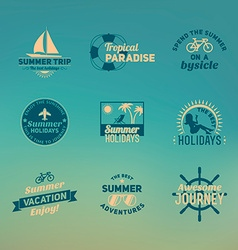 Set of summer retro design elements vintage vector