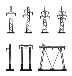 Electrical transmission tower types vector