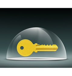 Key to the lock under a glass dome vector
