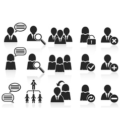 Black social symbol people icons set vector