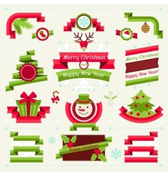 Merry christmas banners ribbons and badges vector