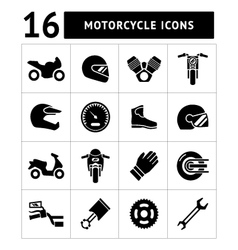 Set icons of motorcycle vector