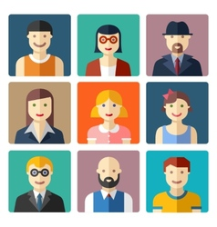 Flat avatar icons faces people icons vector