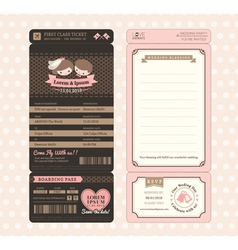 Vintage boarding pass wedding invitation template vector