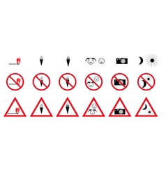 Set of prohibition signs vector