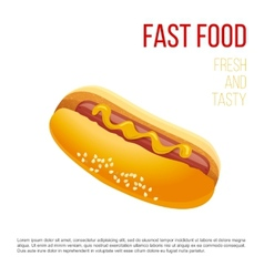 Hot dog with mustard vector