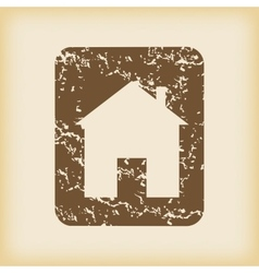 Grungy house sign icon vector