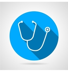 Medical stethoscope flat round icon vector