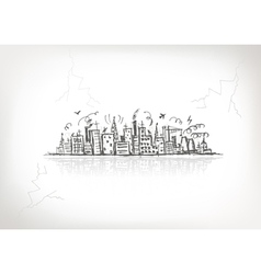 Industrial cityscape sketch vector