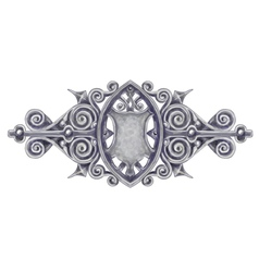 Ornated silver vintage decor with heraldic shield vector