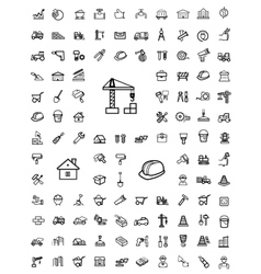 Black construction icons set vector