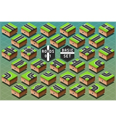 Isometric roads on green terrain vector