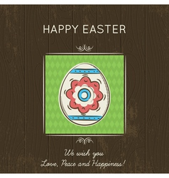 Easter card with one egg on wooden background vector