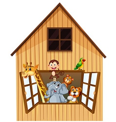 Animals and barn vector