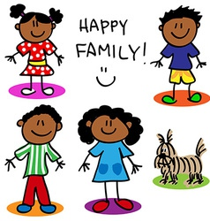 Stick figure black family vector
