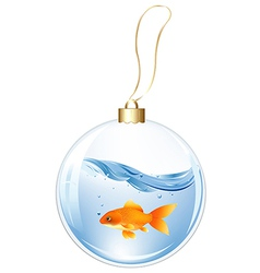 New year ball with goldfish in water vector